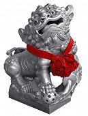 silver lion statue isolated with clipping path