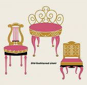 vector old-fashioned chair sets