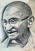 stock photo of lithographic  - Close up photo of Mahatma Gandhi father of Indian nation - JPG
