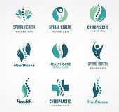 Chiropractic, massage, back pain and osteopathy icons poster