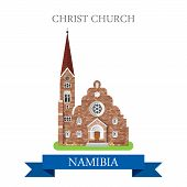 Постер, плакат: Christ Church in Namibia Flat cartoon web vector illustration