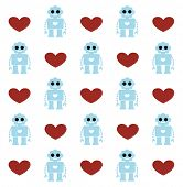 robot with heart card background design