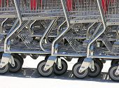 A photo of stacked shopping carts