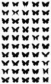 50 diferentes siluetas de mariposas. 1ra serie.