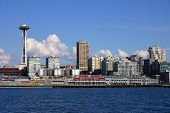 stock photo of view from space needle  - view of seattle skyline with space needle - JPG
