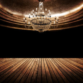 stock photo of flambeau  - interior of vintage hall - JPG