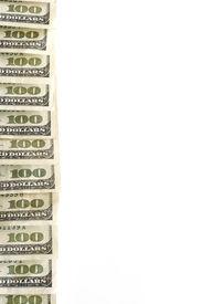pic of one hundred dollar bill  - Fan of hundred dollar bills of cash money - JPG