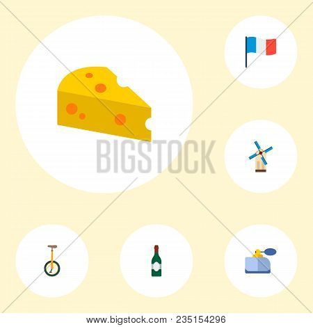 Set Of France Icons Flat