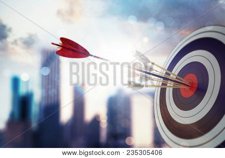 poster of Target Hit In The Middle By Arrow. Business Concept Of Victory. 3d Rendering