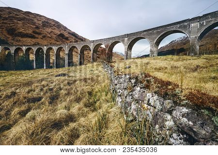 Famous Glenfinnan Viaduct In Scotland