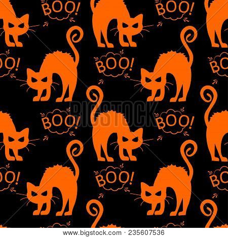 poster of Abstract Seamless Halloween Cat Pattern For Girls Or Boys. Creative Vector Pattern With Cat, Cloud B