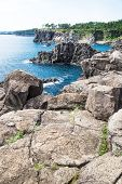 Cliffs With Trees In The Background Along The Coastline Of Seogwipo Vertical, Jeju Island, Korea poster