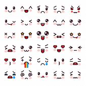 Kawaii Vector Cartoon Emoticon Character With Different Emotions And Face Expression Illustration Em poster