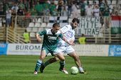 KAPOSVAR, HUNGARY - SEPTEMBER 10: Pedro Sass (white 33) in action at a Hungarian National Championsh