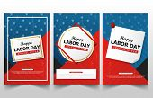 Happy Labor Day American Flag Banner Collections, Labor Day Flyer Brochure Ads Template Set poster