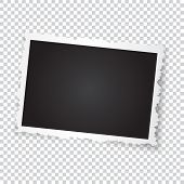 Retro Photo Frame. Realistic Vector Object With Figured Edges. Template Photo Design On A Transparen poster