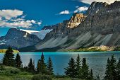Scenic Columbia Icefield Parkway Along Bow Lake, Banff National Park In Canada, Great Hiking Trailhe poster
