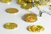 Scattered Coins. Cart Near Bitcons. Coin On A Coin poster