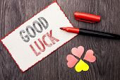 Conceptual Hand Writing Showing Good Luck. Business Photo Text Lucky Greeting Wish Fortune Chance Su poster