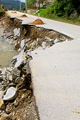 image of landslide  - Destroyed road landslide damaged in powerful flood - JPG