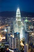 stock photo of petronas towers  - Panorama of Kuala Lumpur from KL Tower in the night. Malaysia ** Note: Slight graininess, best at smaller sizes - JPG