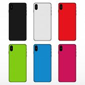 Phone Case Set. Case Mockup. Phone Case, Black, White, Red, Green, Blue, Pink. poster