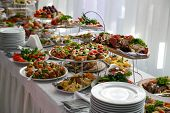 Catering Service. Restaurant Table With Snacks Food At Event. poster