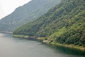 Lake Vogorno (lago Di Vogorno) Is A Reservoir On The Verzasca River, Shot On An Overcast Day - Tener poster