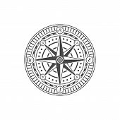 Compass Rose Isolated On White Background. Nautical Navigation And Cartography Symbol Vector Illustr poster