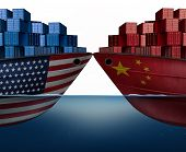 China United States Trade War And American Tariffs Or Chinese Tariff As Two Cargo Ships As An Econom poster