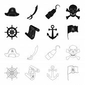 Pirate, Bandit, Rudder, Flag .pirates Set Collection Icons In Black, Outline Style Vector Symbol Sto poster