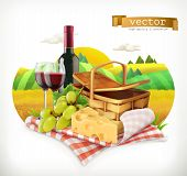 Time For A Picnic, Nature, Outdoor Recreation, A Tablecloth And Picnic Basket, Wine Glasses, Cheese  poster