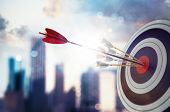 Target Hit In The Middle By Arrow. Business Concept Of Victory. 3d Rendering poster