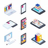 Set Of Isometric Icons Of E-books. Mobile Phone With Books On The Shelves. 3d Concept Of Electronic  poster