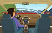 Driver Inside His Car. Vector Illustration In Cartoon Style. Driver Car, Automobile Transportation O poster