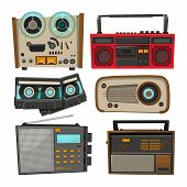 Vintage Audio Recorders Isolated On White. Vector Music Audio, Retro Tape And Recorder Stereo Illust poster