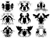 foto of winged-horse  - vector set of heraldic shields with animals  - JPG
