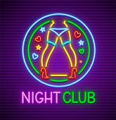 Striptease Club Neon Sign For Nighttime Entertainment For Adults. Neon Dancing Female Legs Of Dancer poster