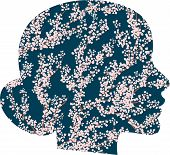 Vector Head Silhouette With Cherry Flowers. Woman-spring, The Arrival Of Spring, Tenderness.blooming poster