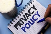 Conceptual Hand Writing Showing Privacy Policy. Business Photo Text Document Information Security Co poster