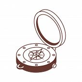 Line Art Compass Isometric Icon. Navigation Equipment With Wind Rose. Old Vintage Compass Vector Ill poster