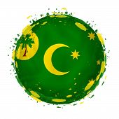 Round Grunge Flag Of Cocos Islands With Splashes In Flag Color. Vector Illustration. poster