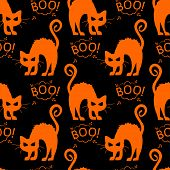 Abstract Seamless Halloween Cat Pattern For Girls Or Boys. Creative Vector Pattern With Cat, Cloud B poster