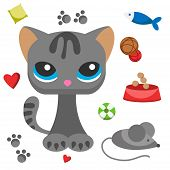 Cat And Mouse Cute Kitty Pet Cartoon Cute Animal Character Illustration. Mammal Human Friend Cat Bre poster