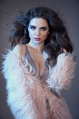High Fashion Sexy Brunette In Pink Fur Coat. Sensuality Portrait Of Gorgeous Woman With Long Healthy poster