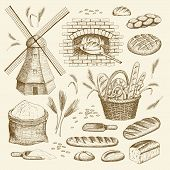Vector Hand Drawn Bakery Illustration Collection. Windmill, Oven, Bread, Basket, Flour, Wheat. poster