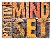 positive mindset - isolated word abstract in vintage letterpress wood type poster