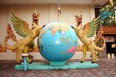 World Globe And Dragons At Dharmikarama Burmese Temple