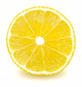 Isolated Lemon. Slice Of Fresh Lemon Isolated On White Background With Clipping Path poster