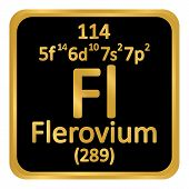 Periodic Table Element Flerovium Icon On White Background. Vector Illustration. poster